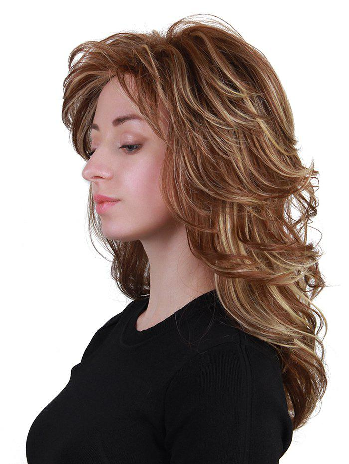 Long Inclined Bang Layered Colormix Slightly Curly Human Hair Wig - multicolor
