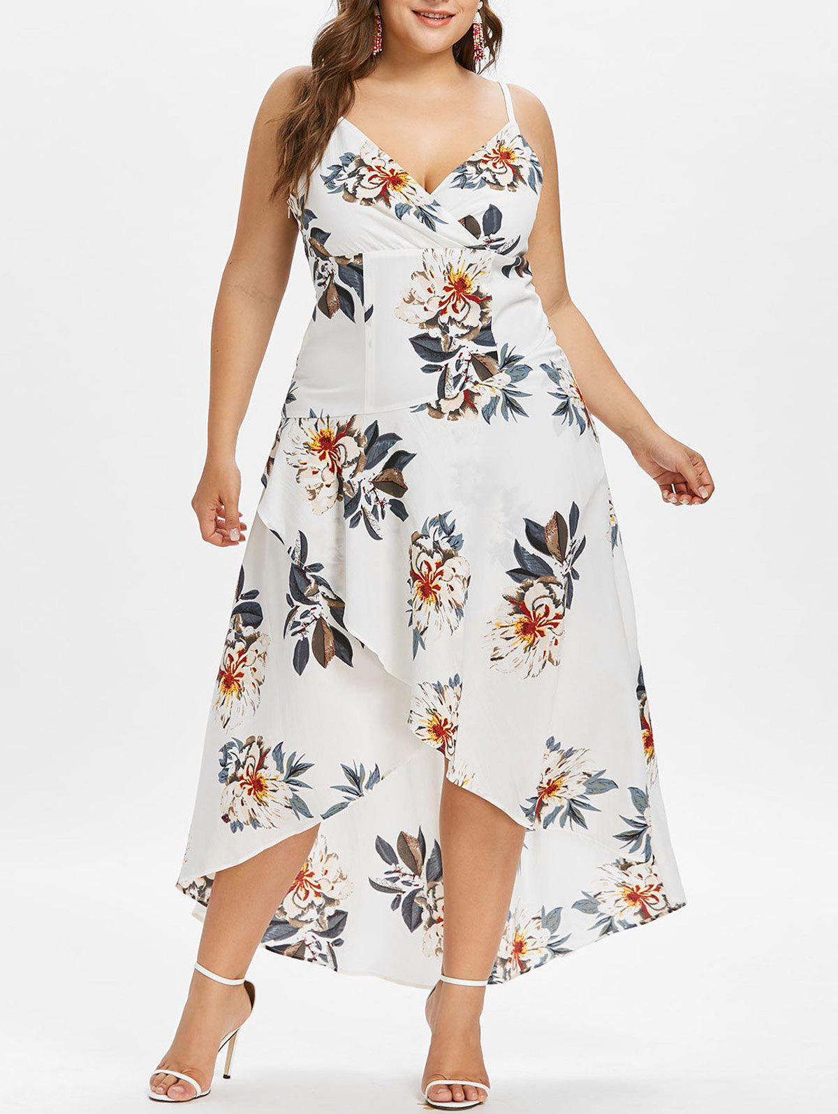 Plus Size Floral Maxi Slip Dress tiny floral chiffon plus size slip handkerchief dress