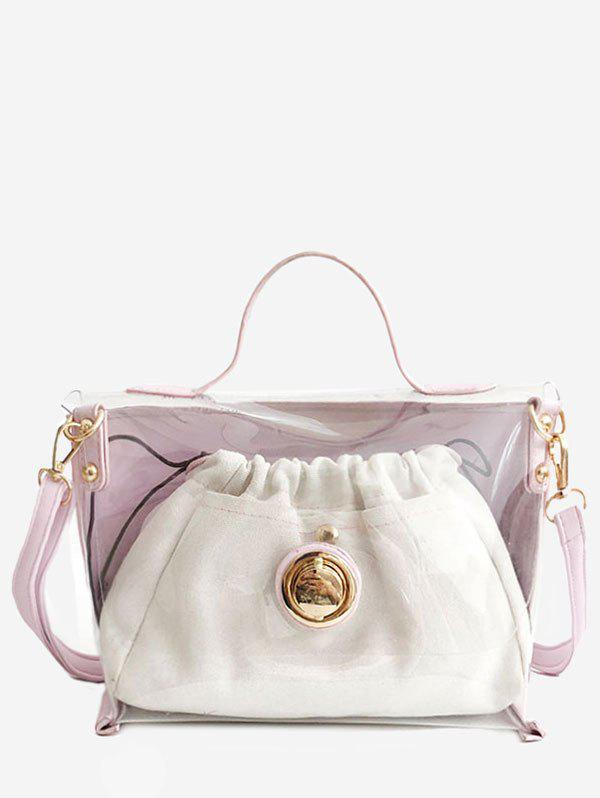 Two in One Jelly Lucid Handbag Set - LIGHT PINK