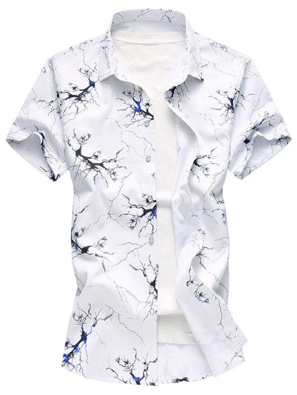 Button Up Tree Ink Painting Print Shirt - BLUE M