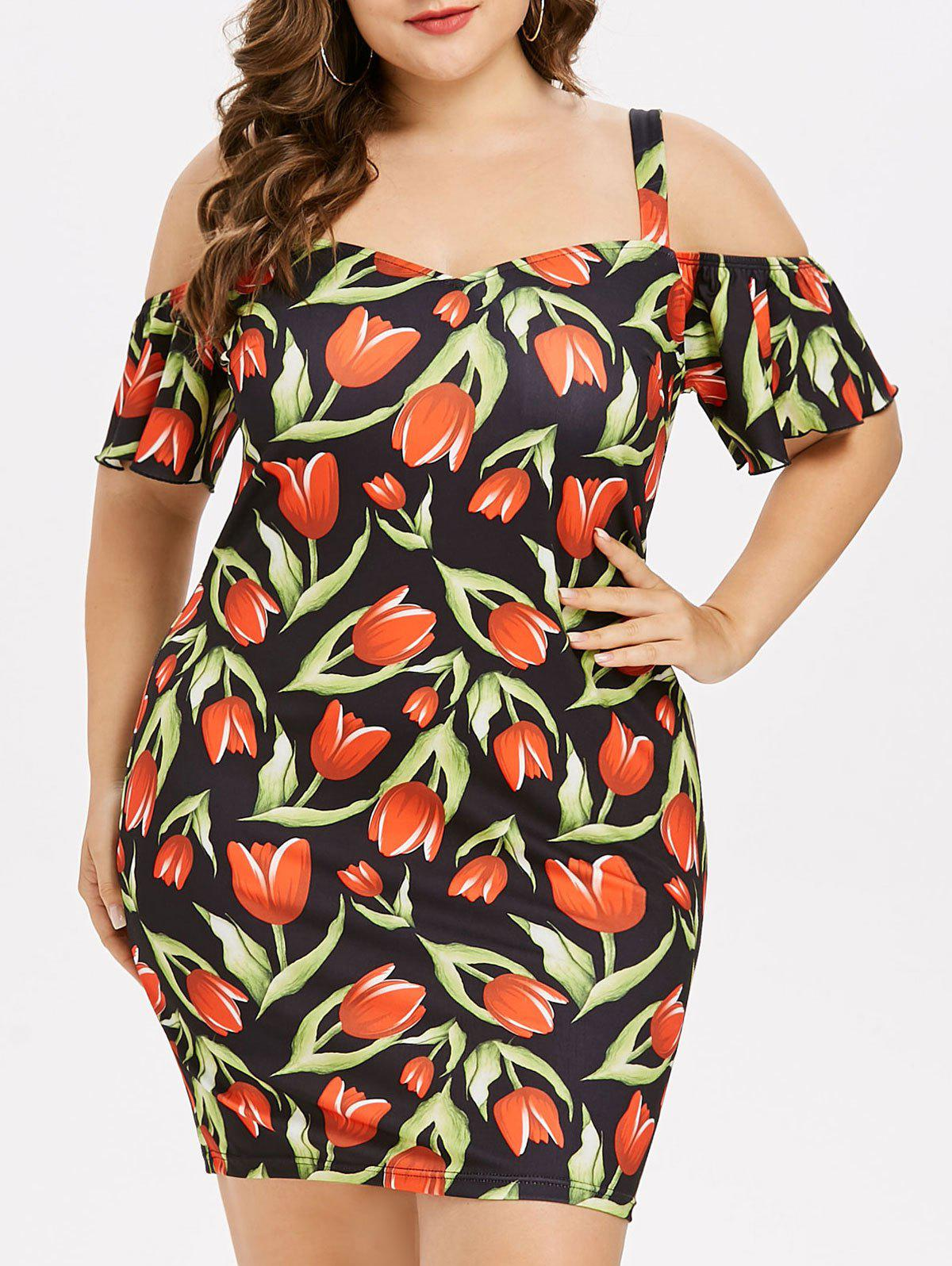 Plus Size Tulip Print Bodycon Dress - multicolor 5X
