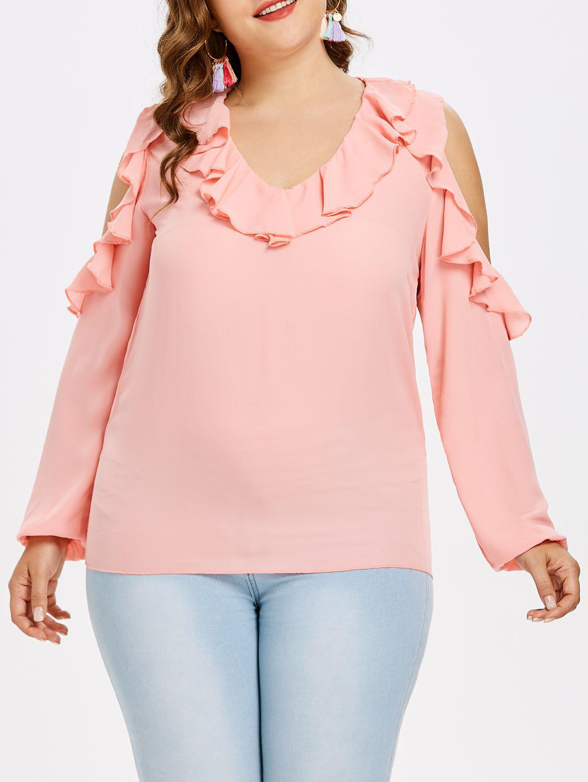 цены Flounce Insert Plus Size Long Sleeve Blouse