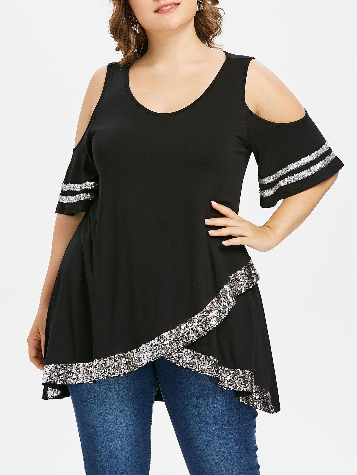 Front Slit Plus Size Sequin Insert Top