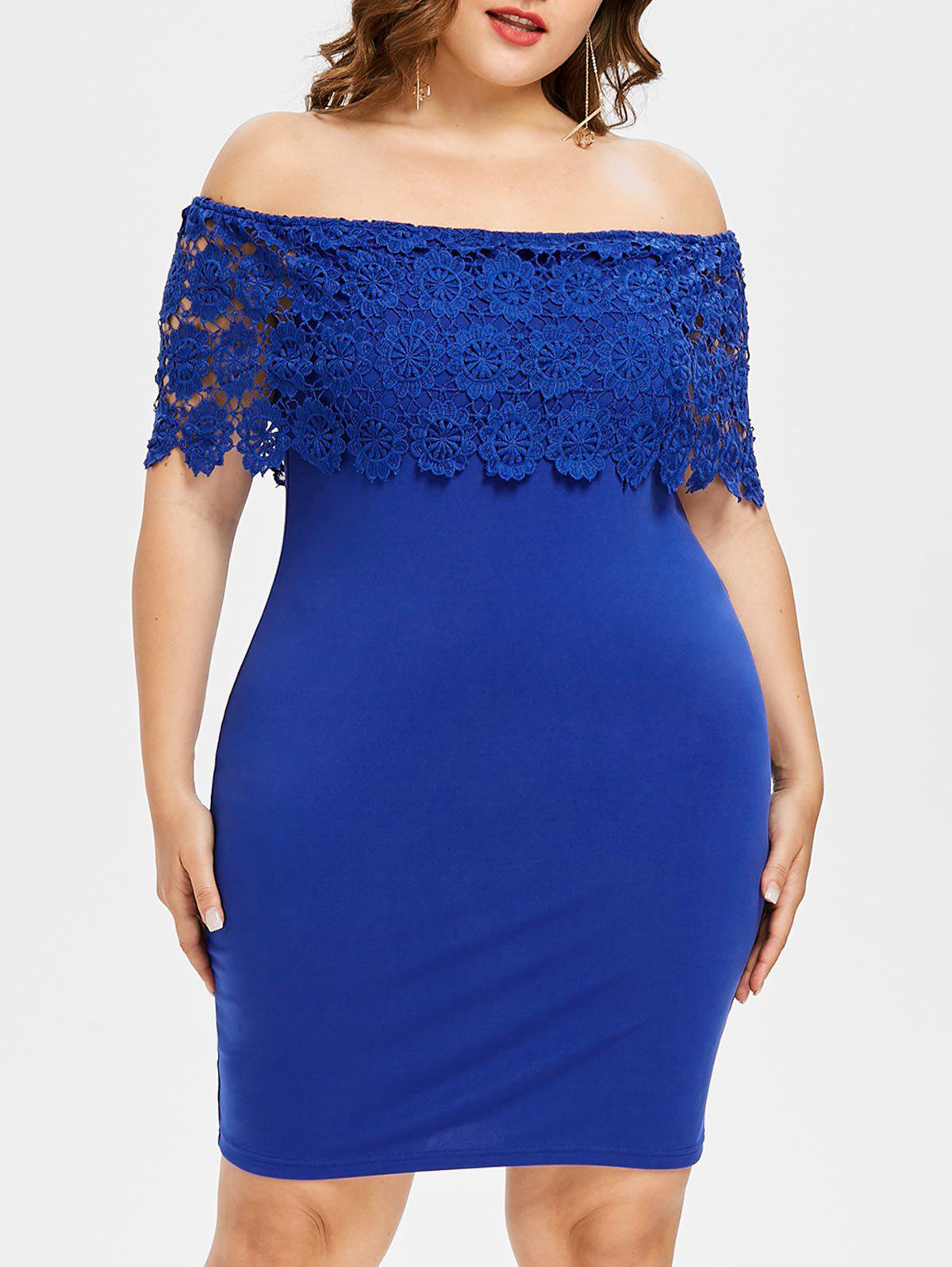 Plus Size Knee Length Off Shoulder Dress - COBALT BLUE L