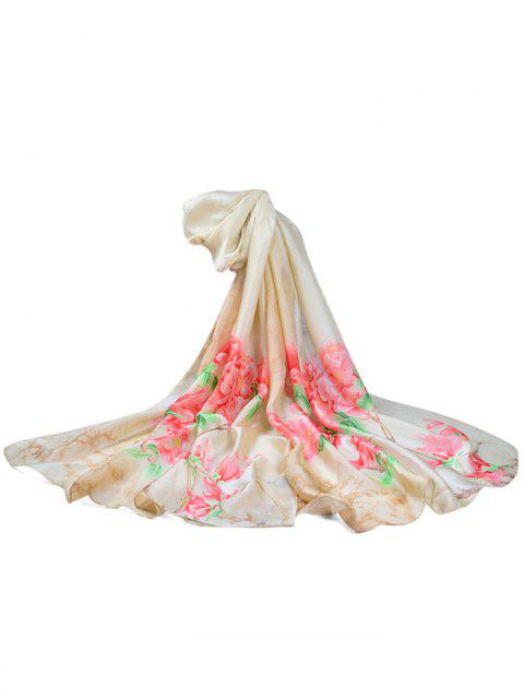 Soft Floral Pattern Silky Travel Holiday Scarf - LIGHT KHAKI