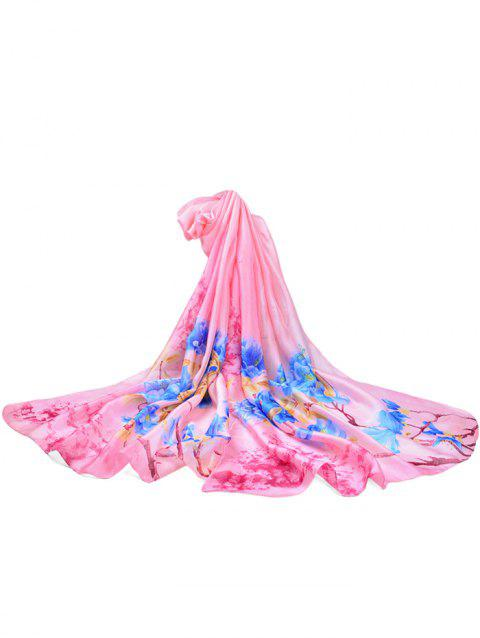 Soft Floral Pattern Silky Travel Holiday Scarf - HOT PINK