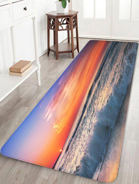 Sunset Beach Sea Waves Scenery Printed Area Rug - multicolor W24 INCH * L71 INCH
