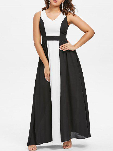 Hit Color Sleeveless Chiffon Maxi Dress - BLACK L