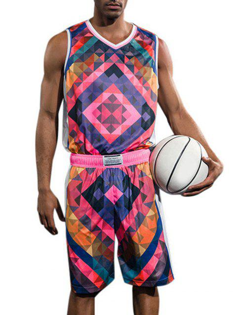 Quick Dry Geometric Print Basketball Suit - ROSE RED XL