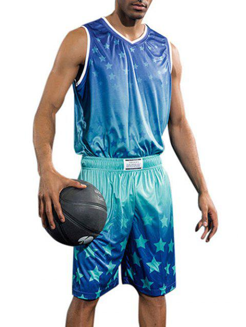 Stars Printed Basketball Uniform Jersey and Shorts - DODGER BLUE L