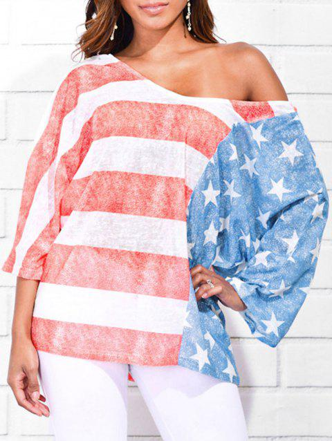 Skew Neck American Flag Print T-shirt - multicolor 2XL