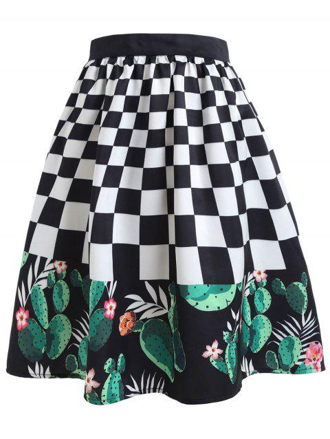Checked Cactus Printed A-line Skirt - multicolor S