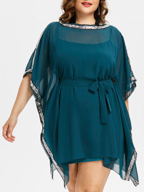 Plus Size Sequin Trim Office Dress - MEDIUM SEA GREEN 3X