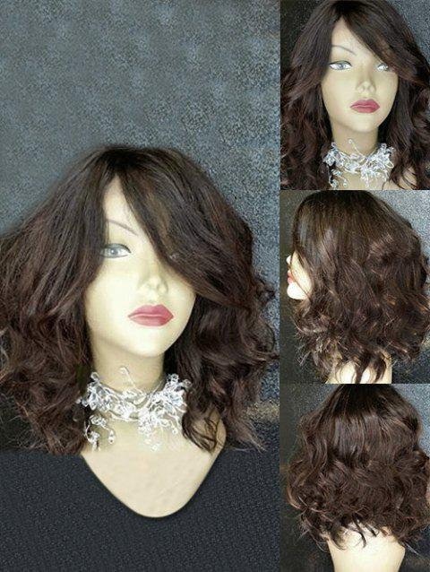 Medium Colormix Inclined Bang Wavy Synthetic Wig - multicolor