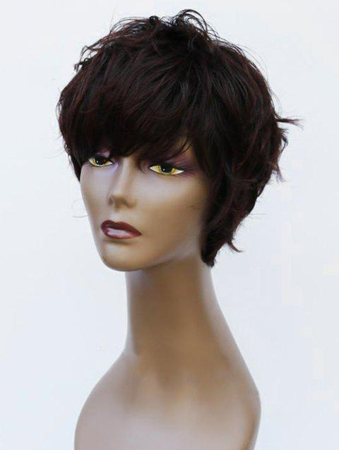 Short Side Bang Natural Straight Heat-resistant Synthetic Wig - DEEP BROWN