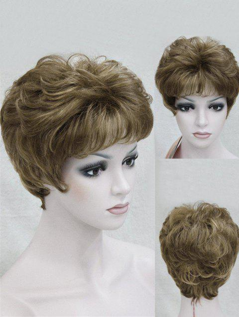 Short Inclined Bang Fluffy Layered Slightly Curly Synthetic Wig - DARK GOLDENROD