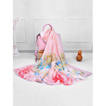 Soft Floral Pattern Silky Travel Holiday Scarf - LIGHT PINK