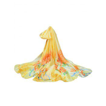 Soft Floral Pattern Silky Travel Holiday Scarf - SUN YELLOW