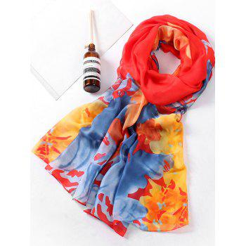 Soft Flowers Pattern Holiday Shawl Scarf - LOVE RED