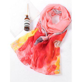 Soft Flowers Pattern Holiday Shawl Scarf - ROSE RED