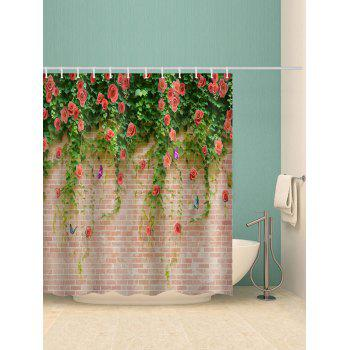 Rose Flowers Brick Wall Printed Waterproof Shower Curtain - multicolor W71 INCH * L79 INCH