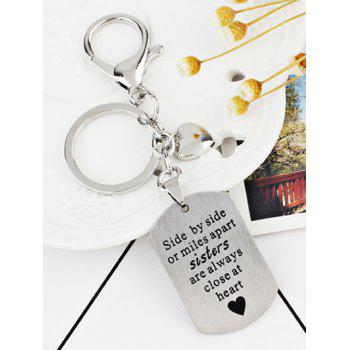 Unique Metal Label Decorative Key Chain - SILVER