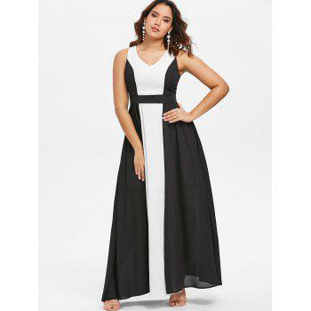 Hit Color Sleeveless Chiffon Maxi Dress - BLACK XL