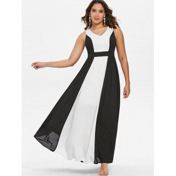 Hit Color Sleeveless Chiffon Maxi Dress - BLACK 2XL