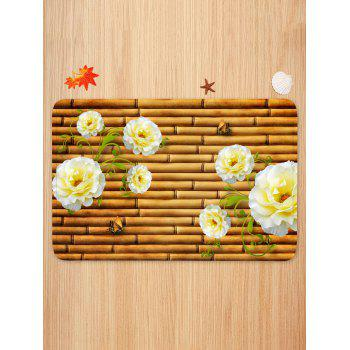 Bamboo Flower Butterfly Pattern Anti-skid Water Absorption Area Rug - BEE YELLOW W24 INCH * L35.5 INCH
