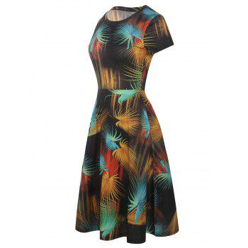 Round Neck Leaf Print Fit and Flare Dress - multicolor XL