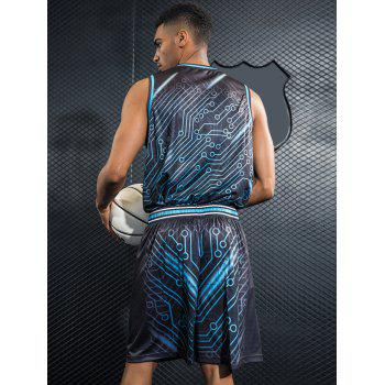 Breathable Circle Print Basketball Suit - BLUE JAY L