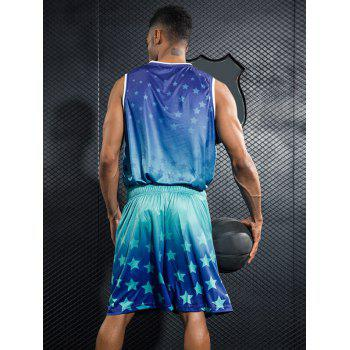 Stars Printed Basketball Uniform Jersey and Shorts - DODGER BLUE XL