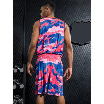 Breathable Camo Print Basketball Uniform Jersey and Shorts - ROSE RED 2XL