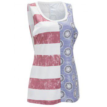 Striped and Star Print Tank Top - multicolor 2XL