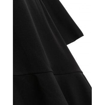 Mesh Insert Asymmetric Flounce Dress - BLACK XL