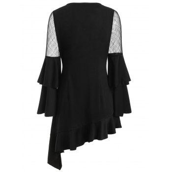 Mesh Insert Asymmetric Flounce Dress - BLACK 2XL