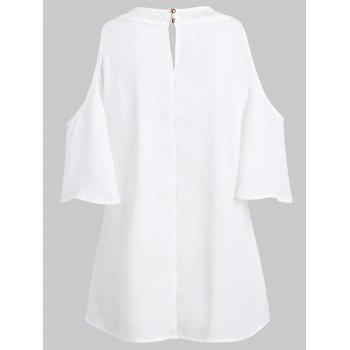 See Through Cold Shoulder Lace Panel Blouse - WHITE M