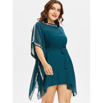 Plus Size Sequin Trim Office Dress - MEDIUM SEA GREEN 4X