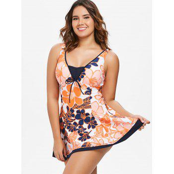 One Piece Open Back Skirted Swimwear - multicolor L