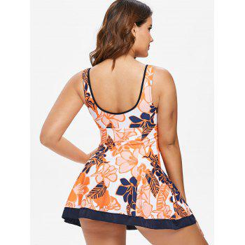 One Piece Open Back Skirted Swimwear - multicolor XL