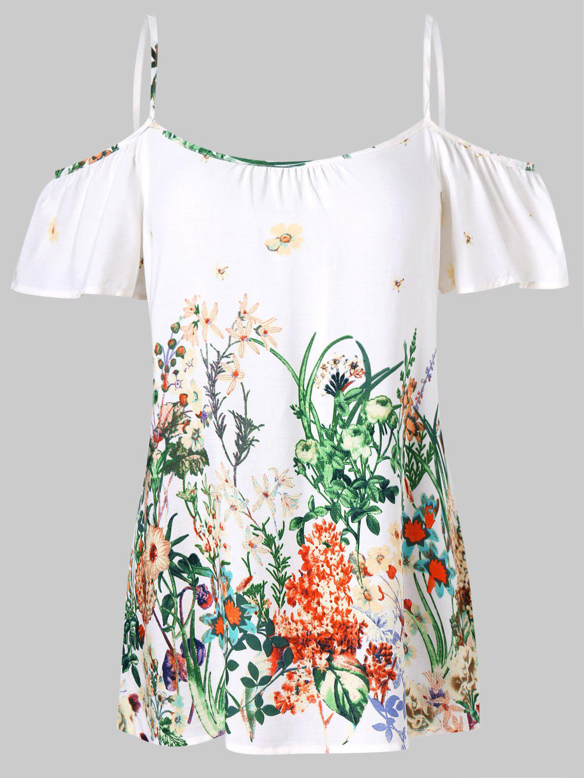 2018 cold shoulder floral blouse white m in blouses online store cold shoulder floral blouse white m mightylinksfo