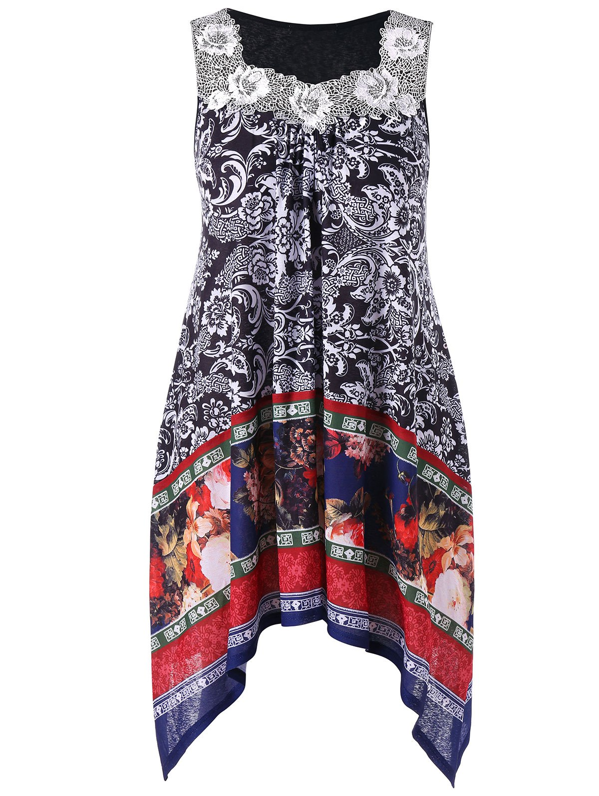 Plus Size Square Neck Floral Dress - multicolor 5X