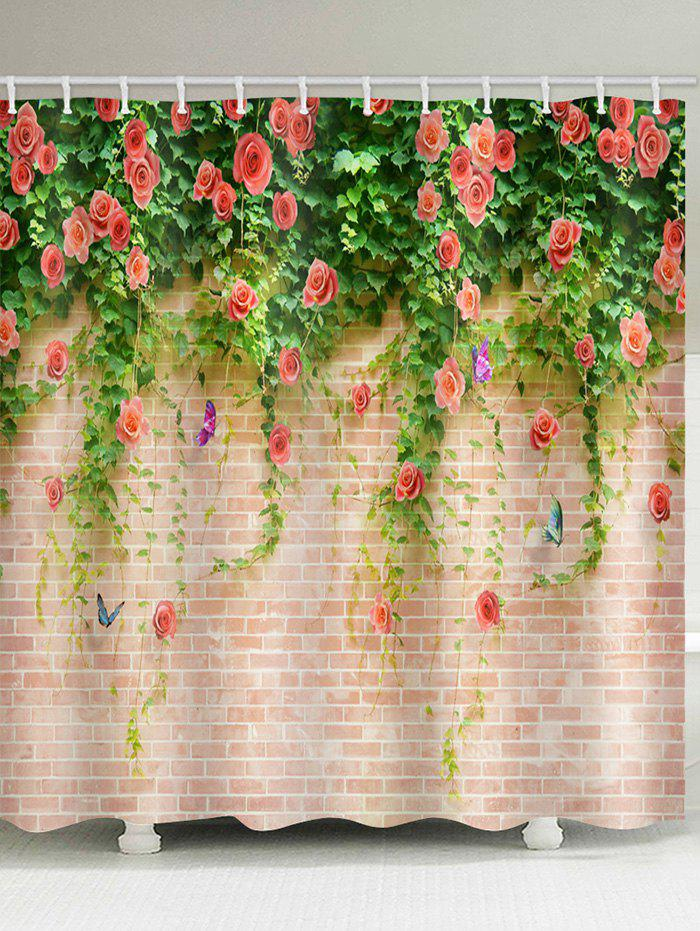 Rose Flowers Brick Wall Printed Waterproof Shower Curtain swans flowers cascade waterproof shower curtain carpet set