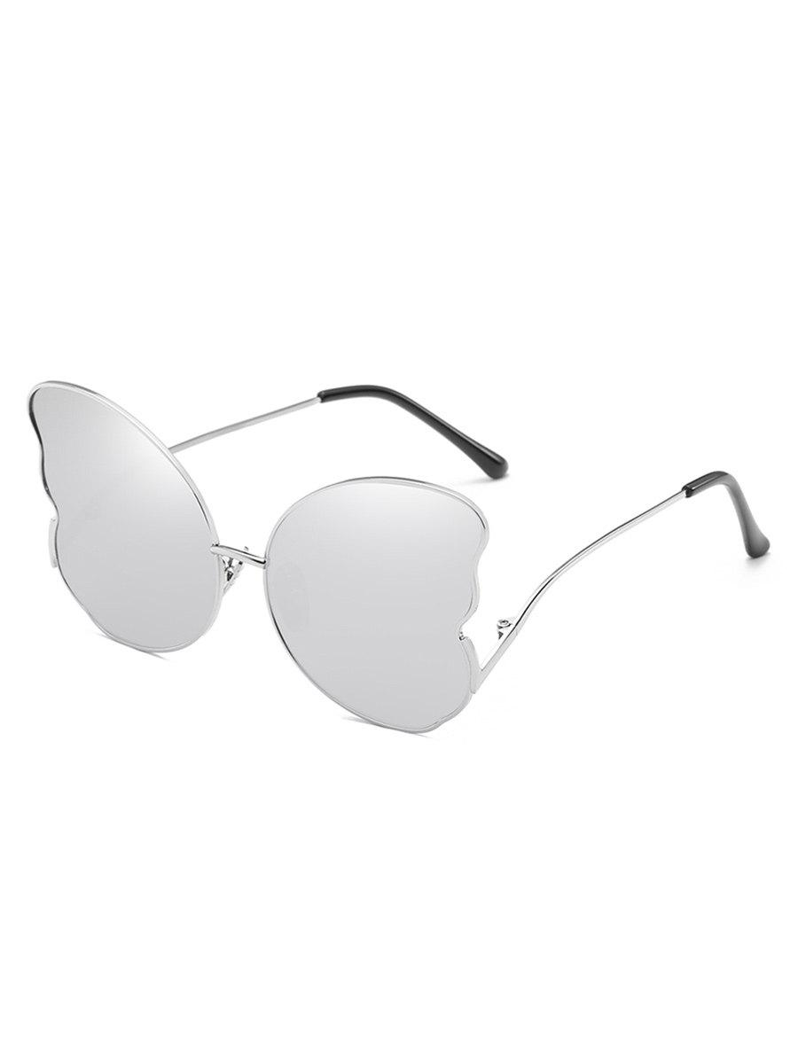 UV Protection Metal Full Frame Oversized Butterfly Sunglasses - PLATINUM