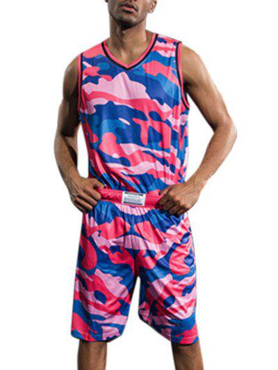 Breathable Camo Print Basketball Uniform Jersey and Shorts - ROSE RED L