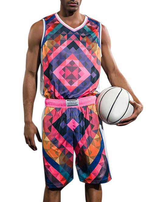 Quick Dry Geometric Print Basketball Suit - ROSE RED L