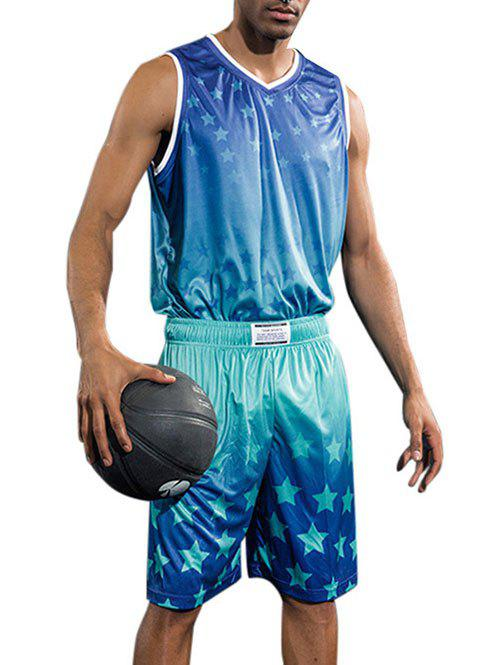 Stars Printed Basketball Uniform Jersey and Shorts - DODGER BLUE 2XL