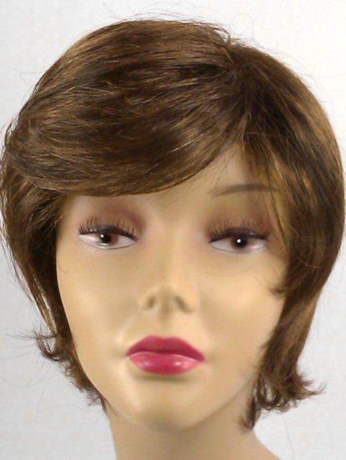 Side Bang Short Straight Synthetic Wig - BROWN BEAR