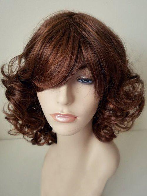 Side Bang Fluffy Short Curly Capless Synthetic Wig - BROWN