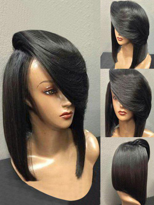 Short Inclined Bang Straight Heat-resistant Synthetic Wig - BLACK
